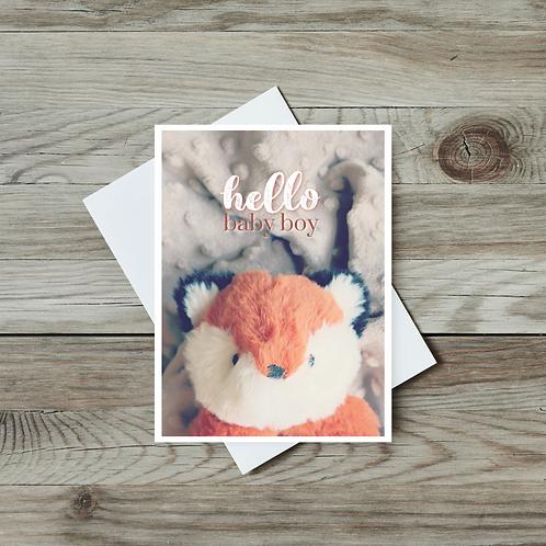 Hello Baby Boy Card - Paper Birch Art