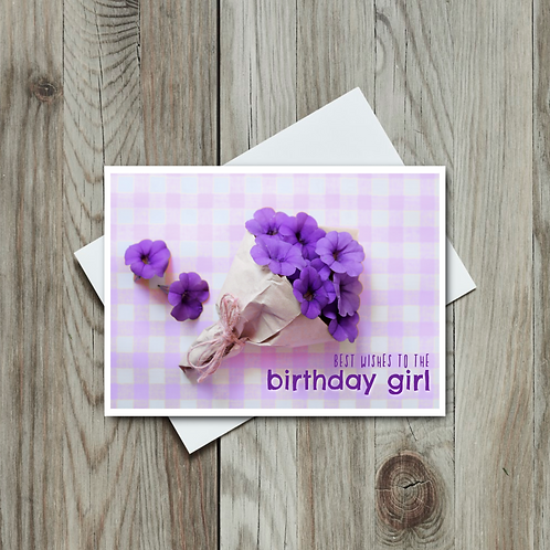 Best Wishes to the Birthday Girl Card - Paper Birch Art