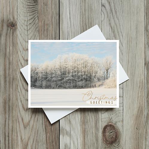 Snowy Christmas Greetings Card - Paper Birch Art