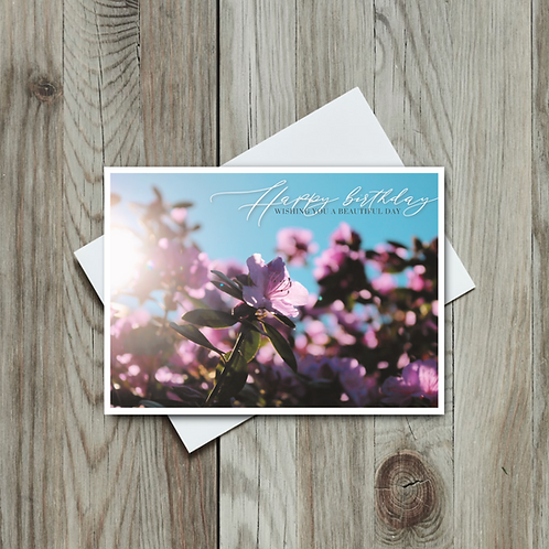 Rhododendron Flowers - Happy Birthday Card - Paper Birch Art