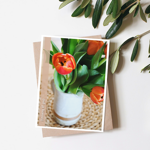 Tulip Thinking of You Card with Kraft Envelope
