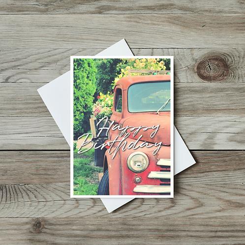 Classic Red Truck Happy Birthday Card - Paper Birch Art
