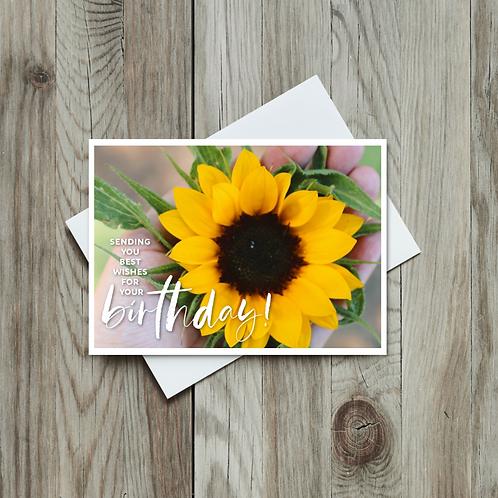 Sunflower Happy Birthday Card - Paper Birch Art
