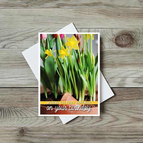 Spring Daffodil Birthday Card - Paper Birch Art