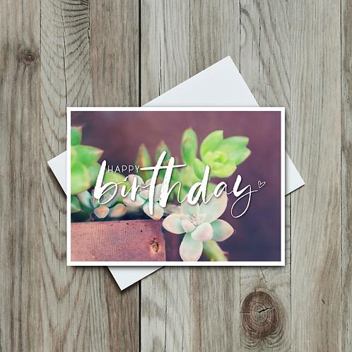 Succulent Happy Birthday Card - Paper Birch Art