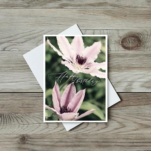 Clematis Flower Birthday Card - Paper Birch Art