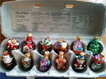 ornaments in egg carton