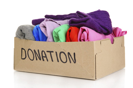 box of donated clothes