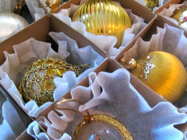 ornaments wrapped in coffee filters