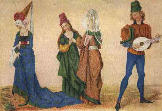 desenho antigo de homens e mulheres tocando instrumentos