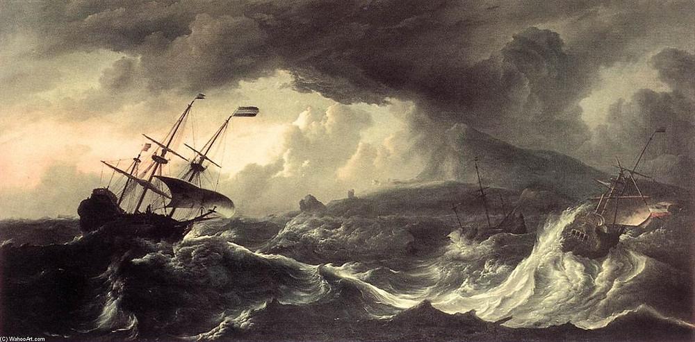 Ludolf Backhuysen, Navios Encalhe Em Uma Tempestade