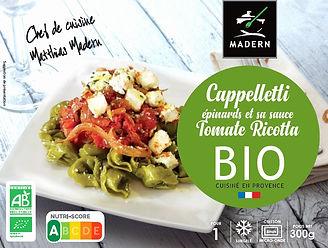 Cappelleti épinards et sa sauce Tomate Ricotta BIO