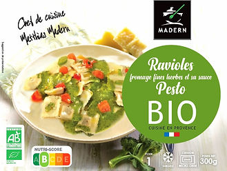 Ravioles aux fromages fines herbes et sa sauce pesto BIO