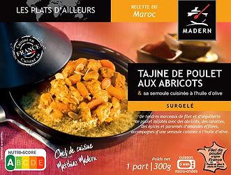 Tajine de poulet aux abricots et sa semoule cuisinée à l'huile d'olive