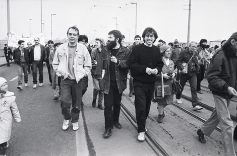 A Margit-hídon balról jobbra Ruff György, Horn Gábor, Sándor Tibor.