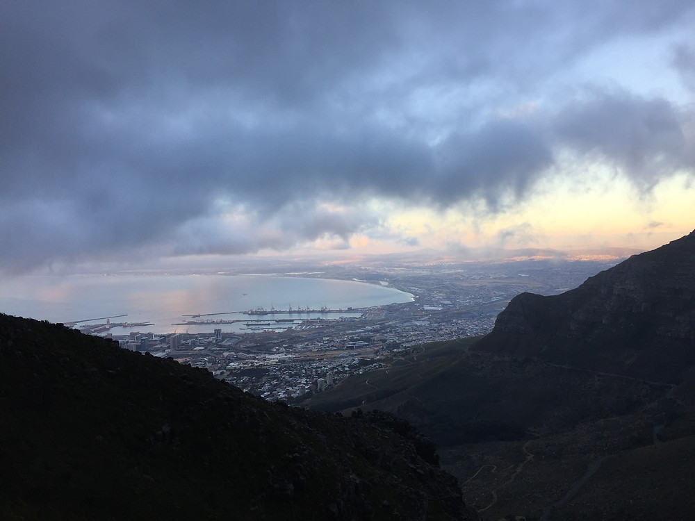 Sunset climbing back down 365 Ubuntu Climbs Cape Town Table Mountain