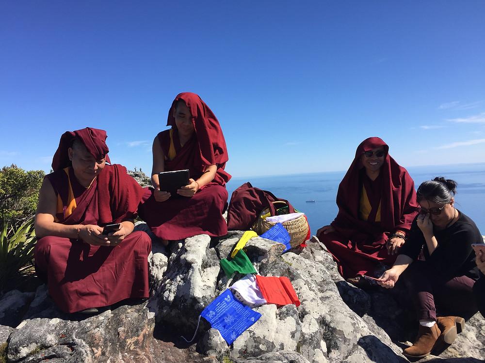 Tibetan Monks on top Table Mountain 365 Ubuntu Climbs