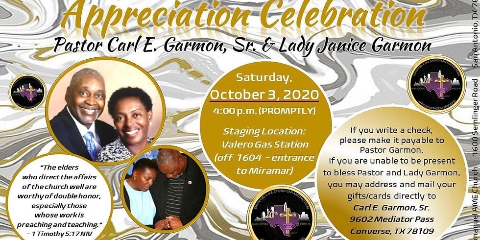 Appreciation Celebration of Pastor Carl E. Garmon, Sr. & Lady Janice Garmon