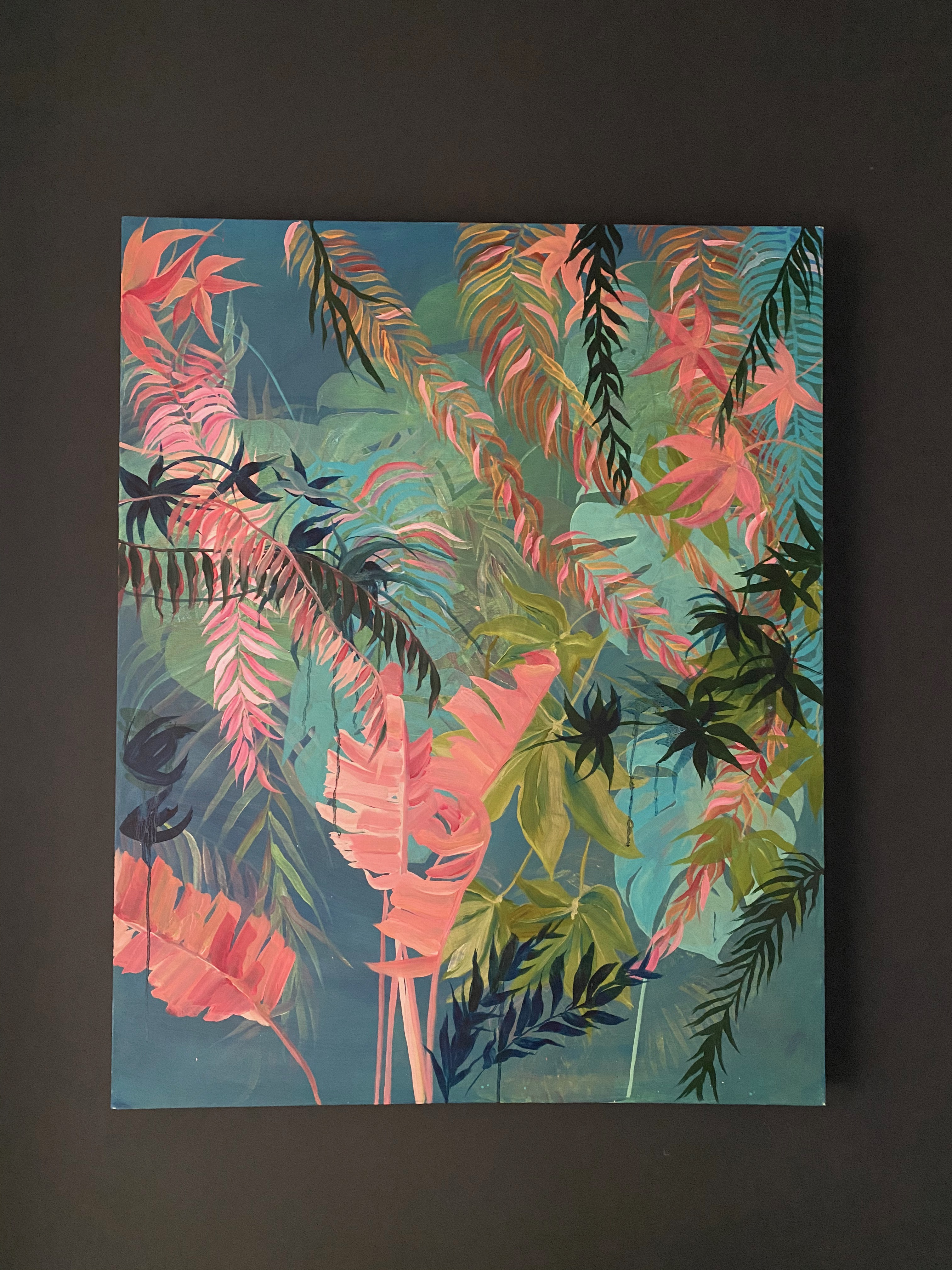 Tropical pinks oil on canvas