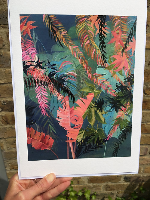 """Tropical pinks"" Giclee print in A3 by Clara Wilkinson"