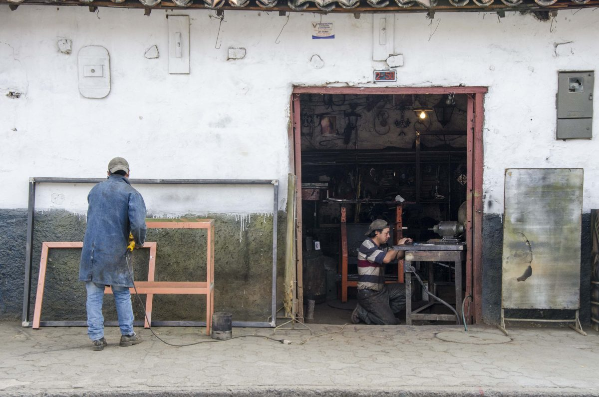 Metalworkers in Las Herrerias, February 2015. Photo Credit: Angie Drake.