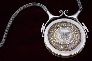 ASU President's Chain of Office (front), 1982. Silver, gold, turquoise. Photo courtesy of Charlie Leight/ASU Now.