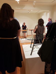 """Monica Coyne giving a gallery talk during the opening reception for """"Tributaries: Monica Coyne."""""""