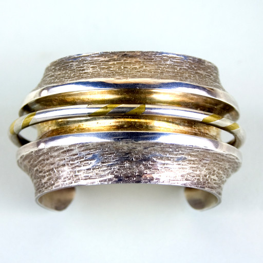 David Pimentel, Bracelet, c. 1975-2000. Sterling silver, nickel silver, copper. Gift of Carolyn Springfield-Harvey, 2013.8.1.
