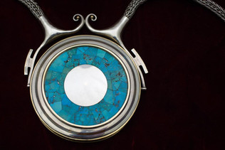 ASU President's Chain of Office (back), 1982. Silver, gold, turquoise. Photo courtesy of Charlie Leight/ASU Now.