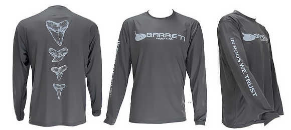 Dry fit performance graphite long sleeve shirt tooth design