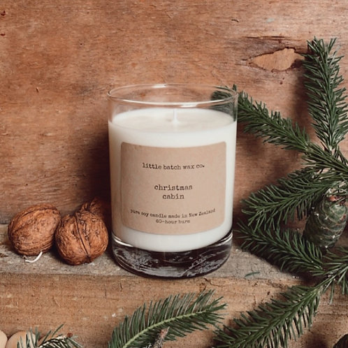 """""""Christmas Cabin"""" - spruce, wood, amber (limited edition seasonal soy candle)"""