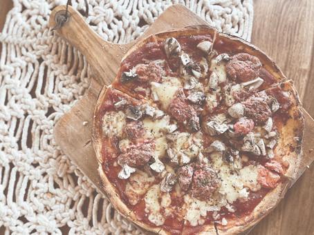 Roasted Beetroot Feta and Mushroom Pizza
