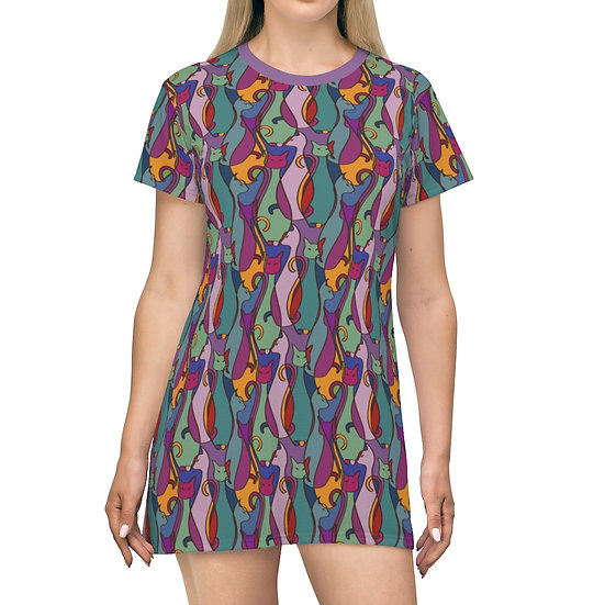 Women's Casual Print Dress - CAT SILHOUETTE
