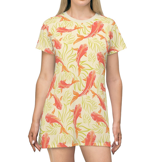 Women's Casual Print  Dress - KOI ORANGE