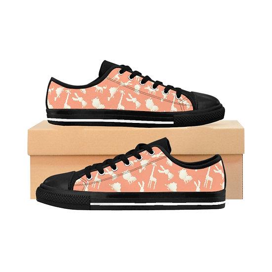 Women's Low Top Sneakers - ANIMAL PUFFS ORANGE