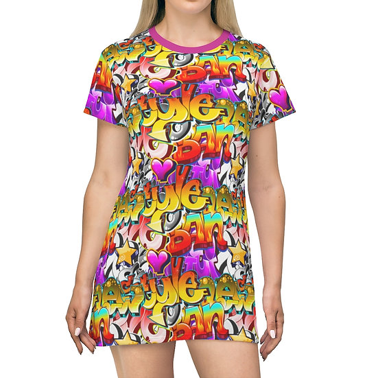 Women's Casual Print Dress - GRAFFITI STYLE