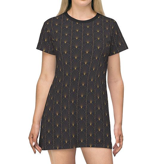 Women's Casual Print Dress - GOLD ART DECO
