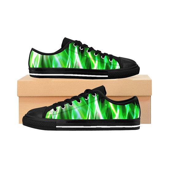 Men's Low Top Sneakers - Green Lantern Flame