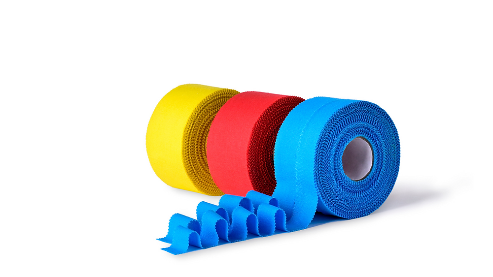 kineseo tape, sports tape, yellow, red and blue roles of tape