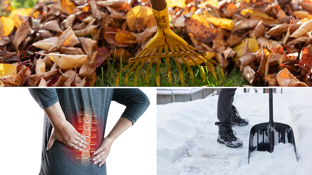 raking leaves, shoveling snow and a man with back pain