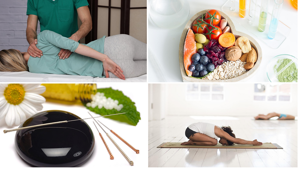 chiropractor adjusting patient, heart healthy foods to fight inflammation, acupuncture needles, woman stretching on floor mat. All ways to manage chronic back pain naturally.