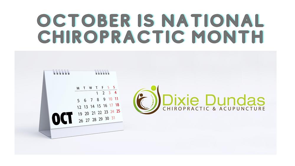 October calendar noting October is national chiropractic month