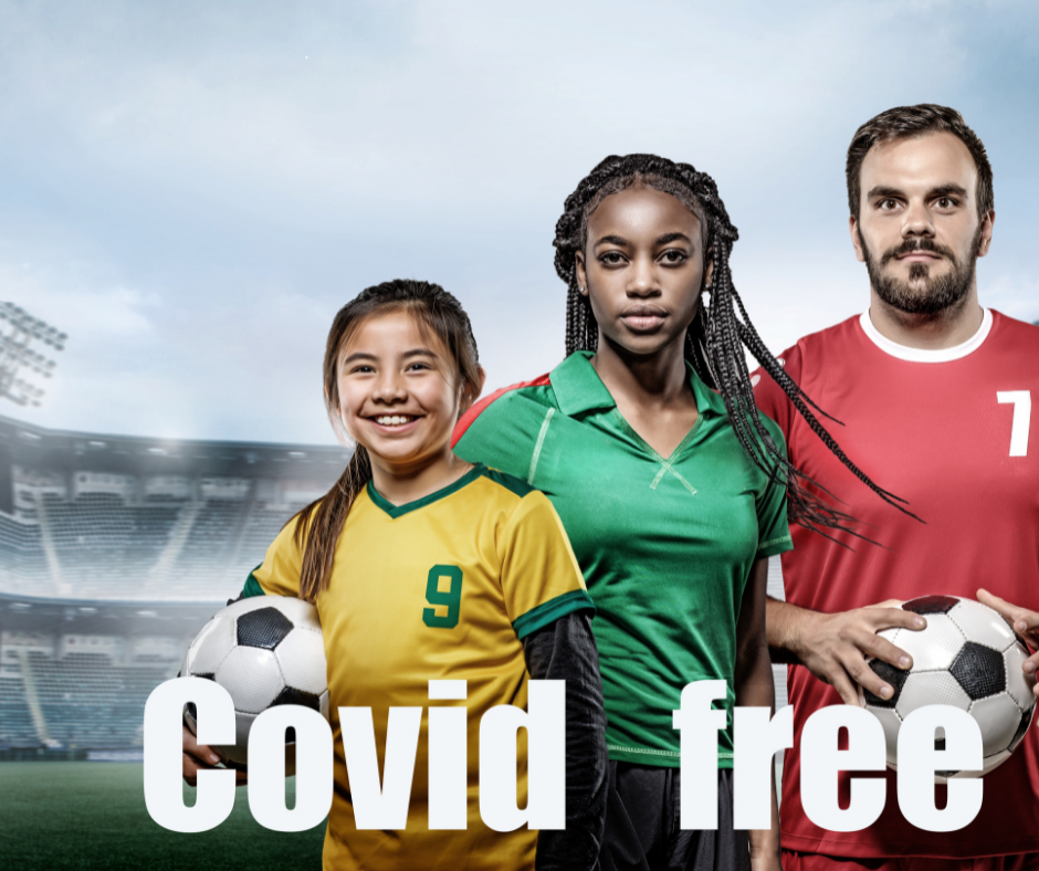 child, teenager and adult with soccer balls and caption Covid Free