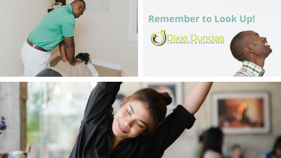 Dr. Andre adjusting patient. Woman stretching and Dixie Dundas logo saying Remember to Look Up