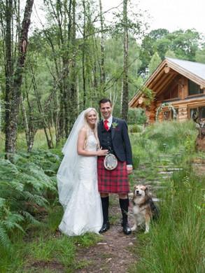 bride and groom dog woodlands