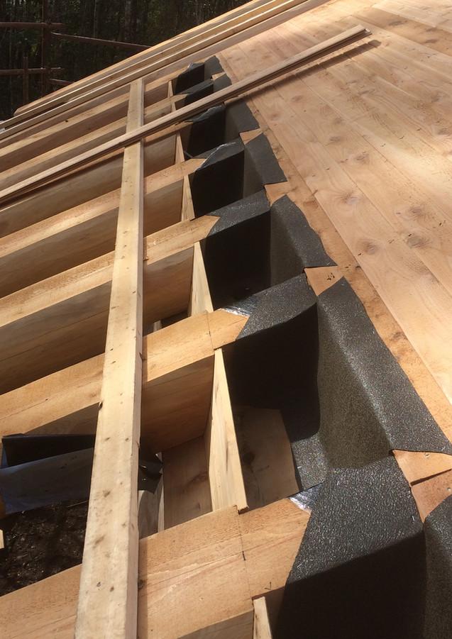 Cedar lining boards ceiling