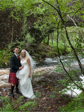 Telfor stone bridge bride and groom