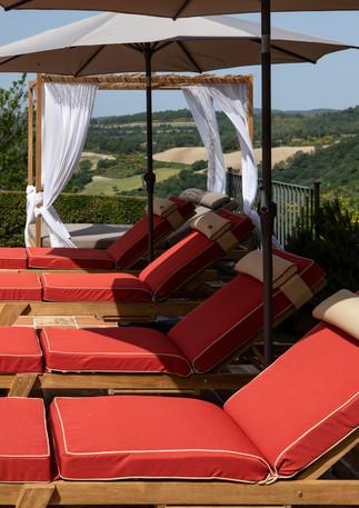 sun bed row
