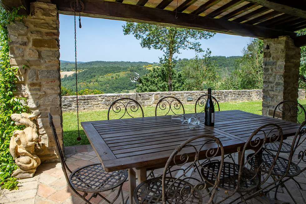 cool dining beautiful view rolling hills Umbria countryside