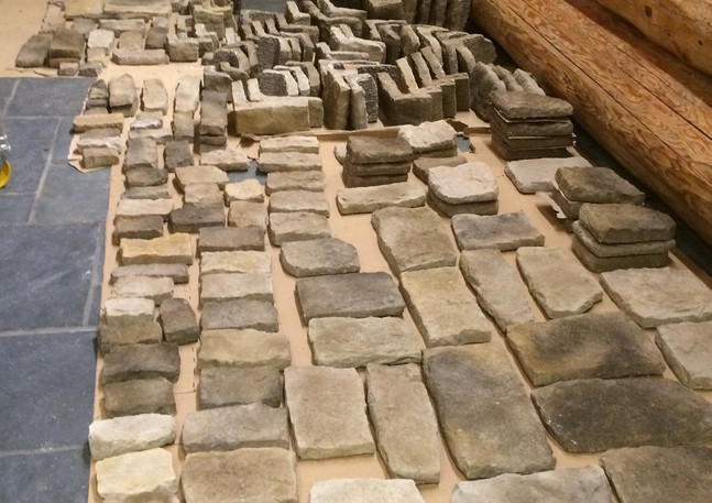 Stone tiles for the chimney